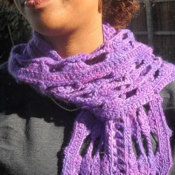 Handmade Purple Merino Wool Crochet Shells Scarf