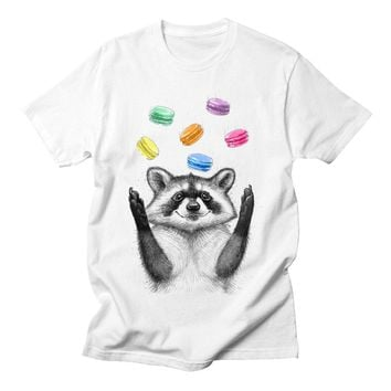 Raccoon Macaron Colorful Tshirt Men Funny Print Design Short Sleeve Casual Kawaii Sweet Cartoon Ladies Harajuku Tee Shirt Femme