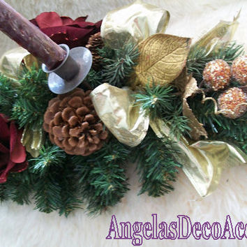 Silk Floral Centerpiece, Winter Rose Arrangement, Faux Evergreen, Candles, Traditional Decor, Gilded Christmas, Velour Flower, Burgundy Gold