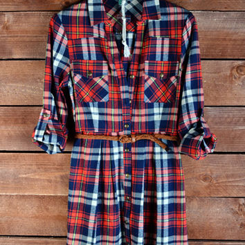 """Lumber Jane"" Plaid Belted Dress"