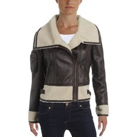 Members Only Womens Faux Fur Collar Motorcycle Jacket