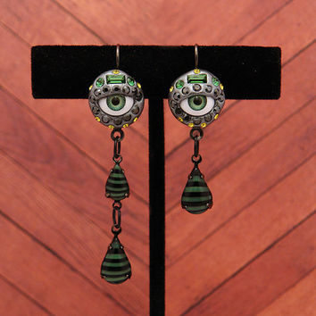 Green Crying Eye Earrings & matching ring - Unique Different OOAK - Green tourmaline, Lime, and Black - Evil Eye Earrings and matching Ring