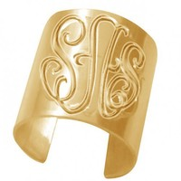 Personalized Monogrammed Ring (Order Any Initials) - 24K Gold Overlay