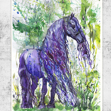 Friesian horse  watercolor painting, violet , wall decor, animal art, art print , poetry in motion, room decor