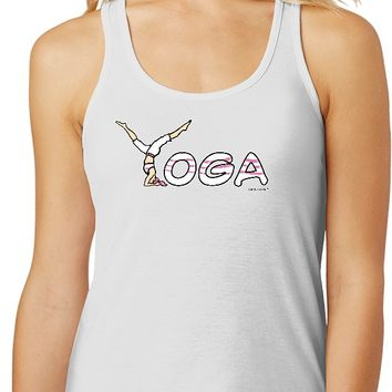Yoga Clothing For You Yoga Spelling Gathered Racerback Yoga Tank Top