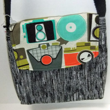 Small Messenger Bag - made by me with camera fabric and black cotton - crossover purse
