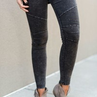 City Slicker Moto Jeggings - Gray Black