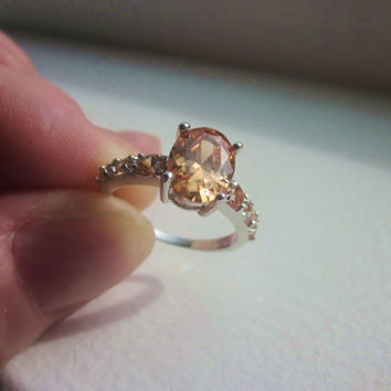 Sterling morganite ring 925 morganite ring silver morganite ring crystal jewelry size 6 morganite ring crystal rings clearance