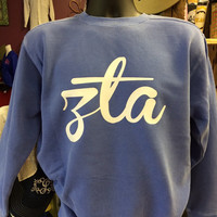 Flo Blue Zeta Tau Alpha Comfort Colors Sweatshirt