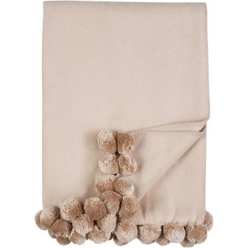 Luxxe Pom Pom Throw in Nude