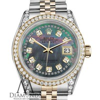 Rolex Stainless Steel & Gold 36mm Datejust Watch Black MOP String Diamond Dial