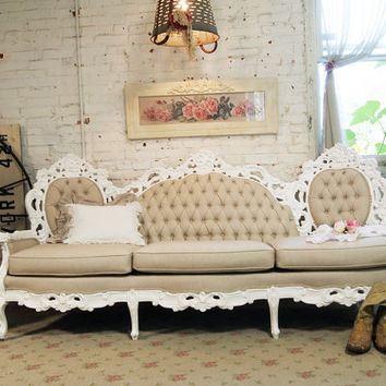 Painted Cottage Chic Shabby Tufted Louis French Sofa CHR361