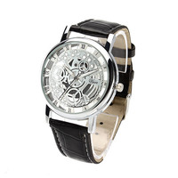 Korean Watch Stylish Double Sided Hollow Out Waterproof Couple Mechanical Watch [6049427521]