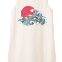 Asian Illustration Of Ocean Waves And Sun Print Vintage Mini Shift Dress WDS_01