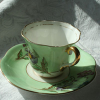 Vintage Bone China Taylor and Kent Tea Cup, England Green Floral Cup and Saucer, Green Vintage Tea Cup Green Demitasse, Shabby Chic Decor