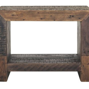 Vintage End Table Bright Recycled Wood