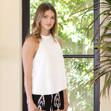 Ivory Cropped Button Top