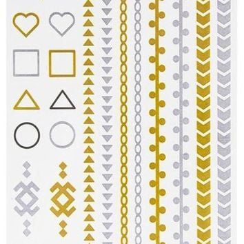 Square & Triangle Geometric Jewelry Tattoos Case Pack 600