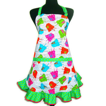 Retro Kitchen Apron,  Chinese Take Out, Neon boxes, Full Hostess Style with Ruffle