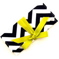 SALE Black and White Chevron Stripe ALEXIS Clutch with Lime