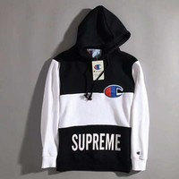 upreme x Champion Fashion Casual Long Sleeve Sport Top Sweater Pullover Sweatshirt I-MMYC-XBW
