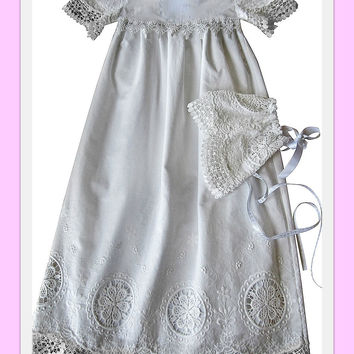 Christening gown baby girl Baptism gown Heirloom style baby girl dress