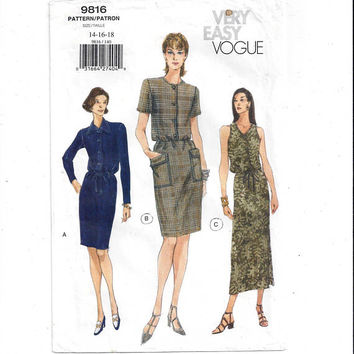 Very Easy Vogue 9816 Pattern for Misses' Dress in 3 Styles, Size 14, 16, 18, from 1998, FACTORY FOLDED, UNCUT, Home Sewing, 1998 Fashion