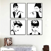 Modern Minimalist Black White Audrey Hepburn Portrait Pop Movie Art Print Poster Abstract Wall Picture Canvas Painting Home Deco