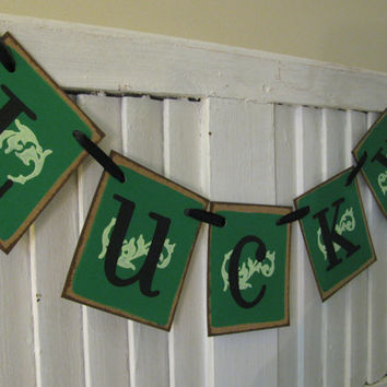Lucky St Patricks Day Banner St Paddys Day Green Garland St Pattys Day Irish Theme Banner