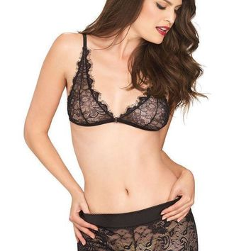 The 2pc. Eyelash Lace Bralette And Matching Stretch Lace Boy Shorts In Black