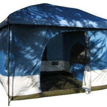 Standing Room 100 Family Cabin Camping Tent (Blue) With 8.5 feet of Head Room, 2 Big Screen Doors (4 Big Screen Doors with Grey XL), All Season Weather Proof Fabric, Fast & Easy Set Up.
