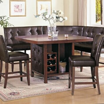6 pc Bravo collection Espresso finish wood counter height dining table set with booth style seats