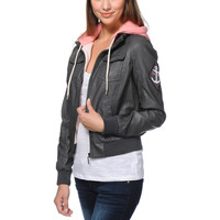 Glamour Kills Anchors NYC Dark Grey Faux Leather Jacket at Zumiez : PDP
