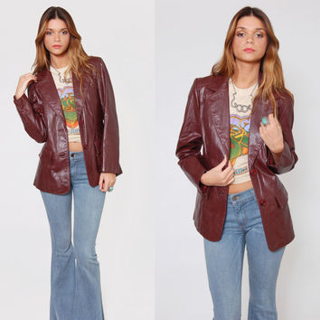 Vintage 70s LEATHER Jacket Sienna Brown Boho Fitted Blazer