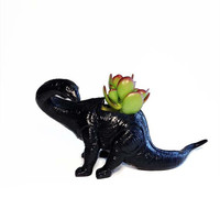 Up-cycled Black Apatosaurus Dinosaur Planter