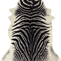 Black Gray White Faux Zebra-Hide Contemporary Rawhide With 100% Suede Backing - Contemporary - Novelty Rugs - by CHIC RUGZ