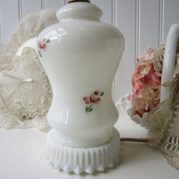 Vintage Milk Glass and Roses Beautiful Lamp