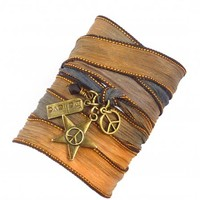 Silk Wrap Bracelet with Peace Signs and Believe Charm