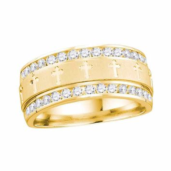 14kt Yellow Gold Mens Round Channel-set Diamond Cross Wedding Band Ring 1/2 Cttw