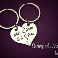 Her All, All His - Hand Stamped Broken Heart Keychain Set - Couple Key Chain Gift - Wedding, Anniversary or Birthday Present - Matching set