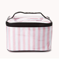 Striped Cosmetic Bag w/ Handle