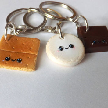 Smores Best Friends Keychains - Three Best Friends - BFF Gift Idea - PitterPatterPolymer - Matching Food Keychains - Long Distance Friend