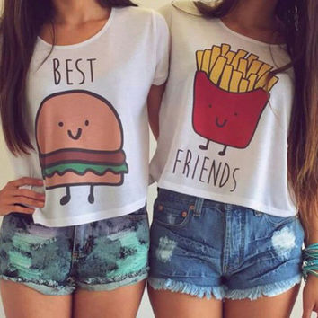 New Casual Crop Tops Women  Summer Round Neck Best Friends Print T Shirts Fashion Short Sleeve Printed Shirt Female