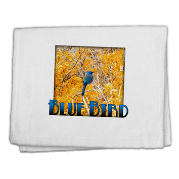 "Blue Bird In Yellow Text 11""x18"" Dish Fingertip Towel"