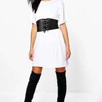 Faye 2 in 1 Corset Belt T-Shirt Dress | Boohoo