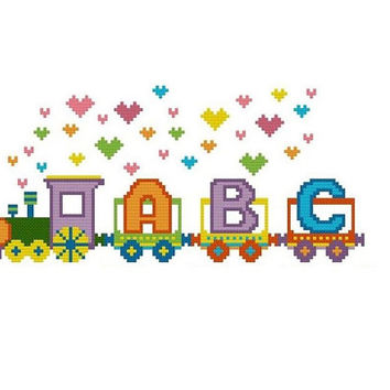 Cross stitch alphabet TRAIN , Let's create your own train , Nursery Baby Crossstitch Pattern , ABC Cross Stitch Pattern , kids room decor