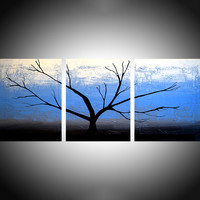 """ARTFINDER: Tree on Ice Blue Sky triptych 3 panel wall art impasto texture 3 panel canvas wall abstract canvas pop abstraction 48 x 20 """" by Stuart Wright - 3 piece canvas art On 3 canvases each 16 x20 i..."""