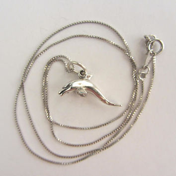 "New Sterling Silver 3D Dolphin Charm Necklace - 18""- 2.99g"