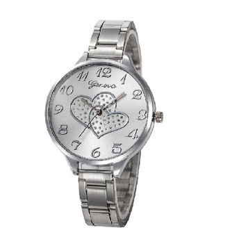 Crystal Stainless Steel Analog Quartz Wrist Watch