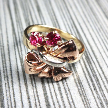 Vintage Retro Gold Ring Rose Gold White Gold Yellow Gold 14k Gold Red Stone Ring Bow Ring Tri Color Gold July Birthstone 1940's Retro Ring